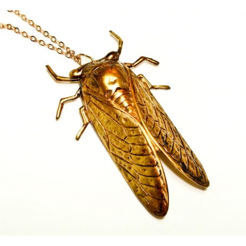 Brehan Todd- Golden Good Luck Vintage Cicada Pendant