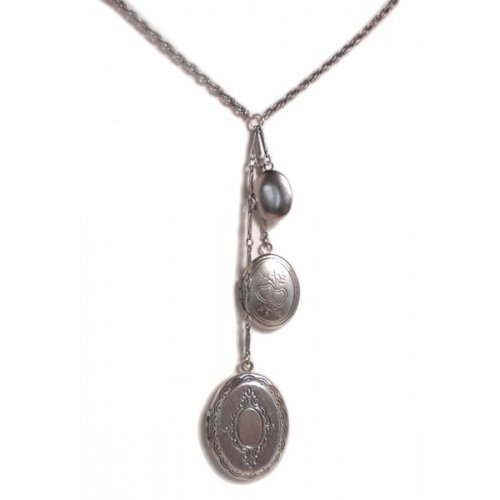 Triple Locket Necklace (shown in silver)
