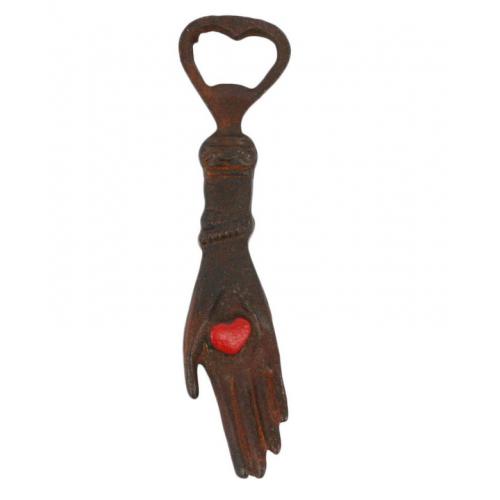 Heart in Hand Cast Iron Bottle Opener
